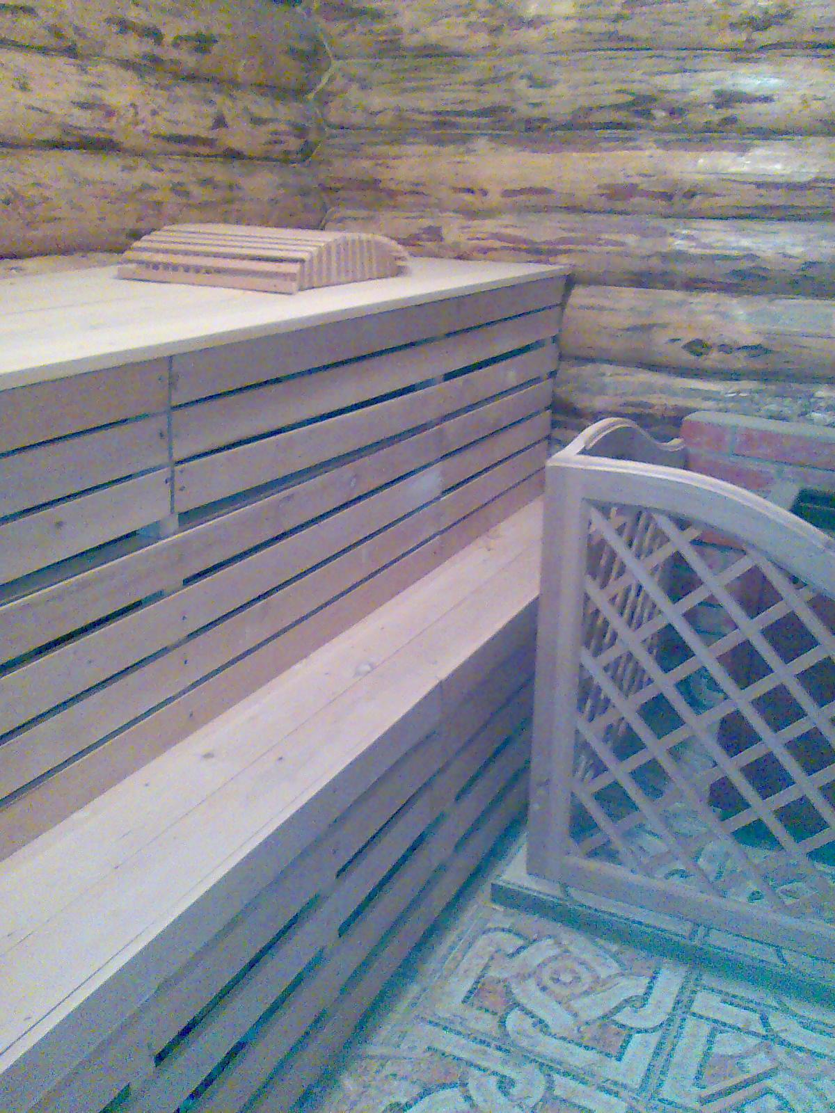 Деревянные полки для сауны